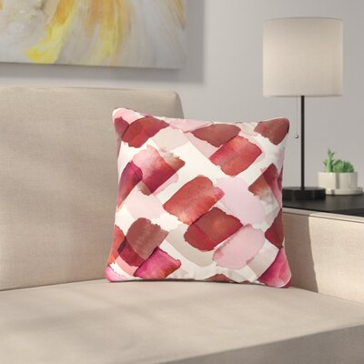 Ebi Emporium Strokes of Genius Outdoor Throw Pillow Size: 18 H x 18 W x 5 D, Color: Red/Pink