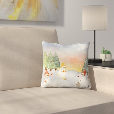 Skiing Snowman In Winter Forest With Bunny Throw Pillow Size: 16 x 16