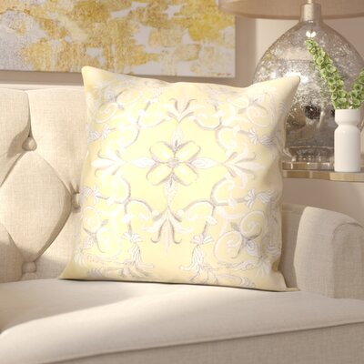 Hepworth Embroidery Velvet Throw Pillow Color: Yellow