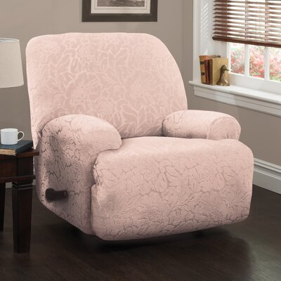 Solid Box Cushion Recliner Slipcover Upholstery: Blush/Floral