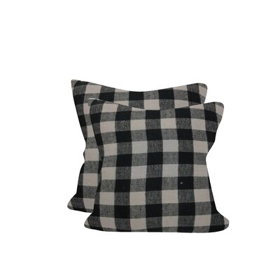 Petersburg Buffalo Checks Throw Pillow Color: Black/Gray