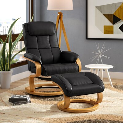 Medford Manual Swivel Recliner with Ottoman Upholstery: Black
