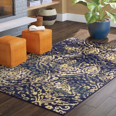 Goshen Navy Blue/Beige Area Rug Rug Size: Rectangle 5 x 8