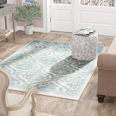 Aston Aqua Area Rug Rug Size: Rectangle 53 x 76