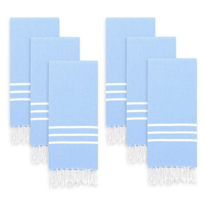 Polizzi Turkish Pestemal Hand Towel Set Color: Sky Blue/White Stripes
