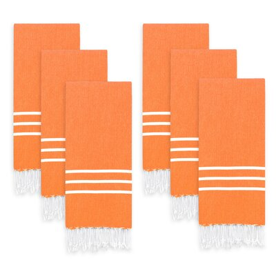 Polizzi Turkish Pestemal Hand Towel Set Color: Dark Orange/White Stripes