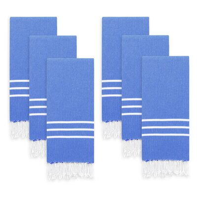 Polizzi Turkish Pestemal Hand Towel Set Color: Royal Blue/White Stripes
