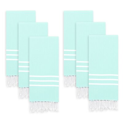 Polizzi Turkish Pestemal Hand Towel Set Color: Soft Aqua/White Stripes