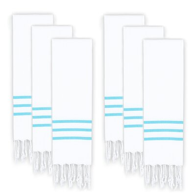 Polizzi Turkish Pestemal Hand Towel Set Color: White/Turquoise
