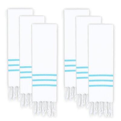Polizzi Turkish Pestemal Hand Towel Set Color: White/Turquoise