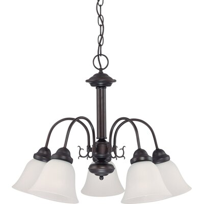 Kaufman 5-Light Candle-Style Chandelier Shade Color: White, Finish: Bronze
