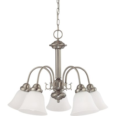 Kaufman 5-Light Candle-Style Chandelier Shade Color: White, Finish: Brushed Nickel