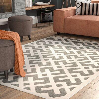 Quinlan Gray/Bone Indoor/Outdoor Area Rug Rug Size: Rectangle 53 x 77