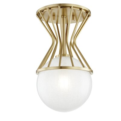 Hopson 1-Light Semi Flush Mount Fixture Finish: Aged Brass