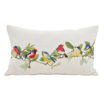 Highfill Embroidered Perched Birds Lumbar Pillow