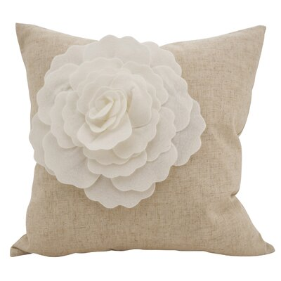 Keech Lotus Flower Statement Cotton Throw Pillow Color: Ivory