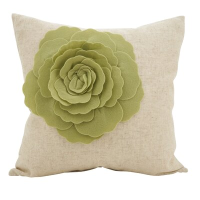 Keech Lotus Flower Statement Cotton Throw Pillow Color: Lime