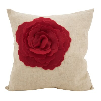 Keech Lotus Flower Statement Cotton Throw Pillow Color: Red