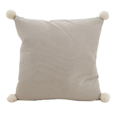 Hugo Pom-Pom Statement Cotton Throw Pillow Color: Gray
