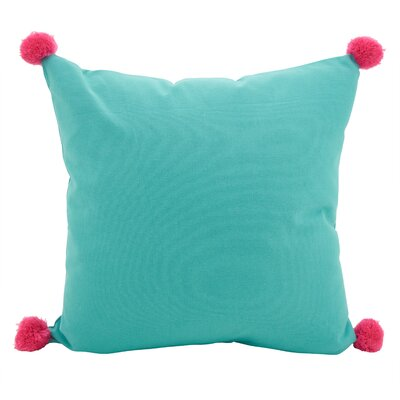 Hugo Pom-Pom Statement Cotton Throw Pillow Color: Turquoise