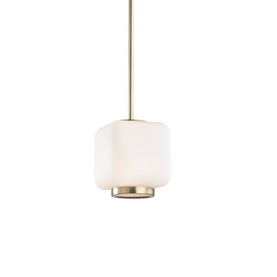 Hoopes 1-Light Mini Pendant Finish: Aged Brass, Size: 11.5 H x 6.5 W x 6.5 D