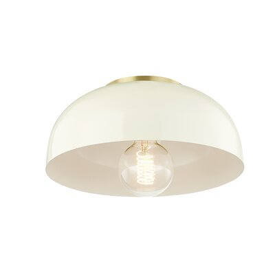 Honore 1-Light Flush Mount Fixture Finish: Aged Brass, Shade Color: Cream, Size: 6 H x 14 W x 14 D