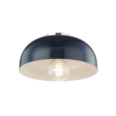 Honore 1-Light Flush Mount Fixture Finish: Polished Nickel, Shade Color: Navy, Size: 5 H x 11 W x 11 D