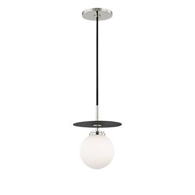 Deshields 1-Light LED Globe Pendant Finish: Polished Nickel/Black, Size: 12.5 H x 10.25 W x 10.25 D
