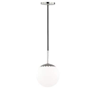 Huebner 1-Light Globe Pendant Finish: Polished Nickel, Size: 12.5 H x 7.5 W x 7.5 D
