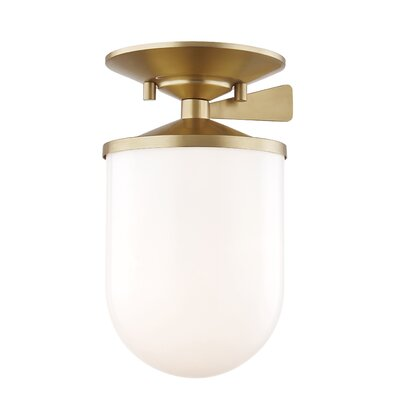 Deshotel 1-Light Semi Flush Mount Fixture Finish: Aged Brass, Size: 9 H x 6 W x 6 D