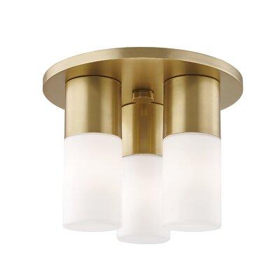 Tamay 3-Light LED Flush Mount Fixture Finish: Aged Brass