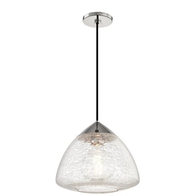 Hults 1-Light Mini Pendant Finish: Polished Nickel, Size: 10.75 H x 12 W x 12 D