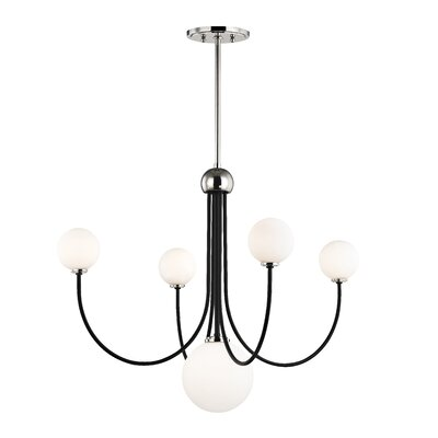 Torington 5-Light LED Candle-Style Chandelier Finish: Polished Nickel/Black
