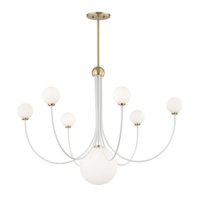 Torrence 7-Light LED Candle-Style Chandelier Finish: Aged Brass/White