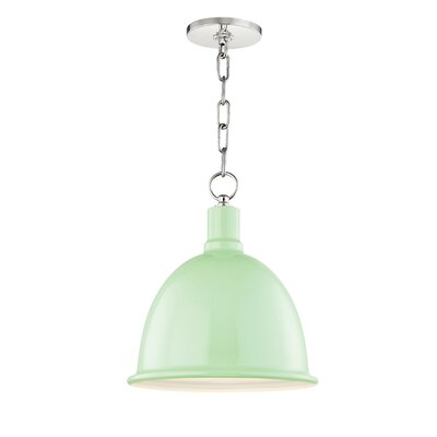 Malpass 1-Light Inverted Pendant Shade Color: Mint, Finish: Polished Nickel, Size: 21.25 H x 16 W x 16 D