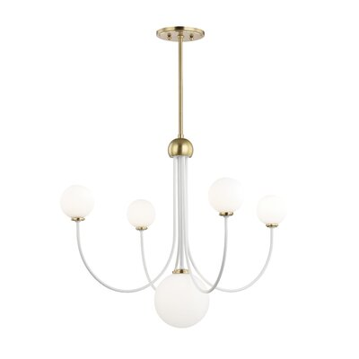 Torington 5-Light LED Candle-Style Chandelier Finish: Aged Brass/White