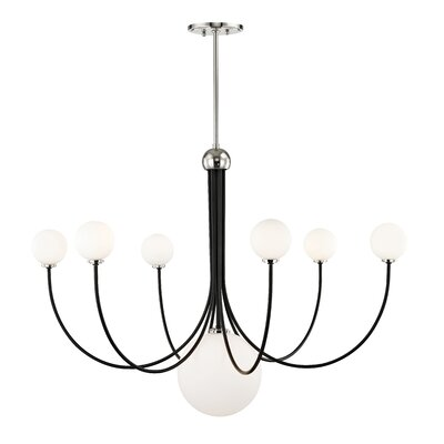 Torrence 7-Light LED Candle-Style Chandelier Finish: Polished Nickel/Black