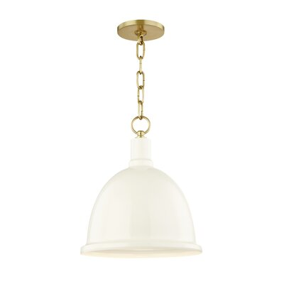 Malpass 1-Light Inverted Pendant Shade Color: Cream, Finish: Aged Brass, Size: 15.75 H x 11 W x 11 D