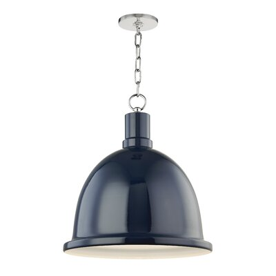 Malpass 1-Light Inverted Pendant Shade Color: Navy, Finish: Polished Nickel, Size: 21.25 H x 16 W x 16 D