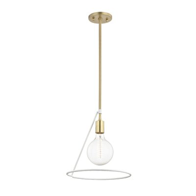 Humbert 1-Light Mini Pendant Finish: Aged Brass/White