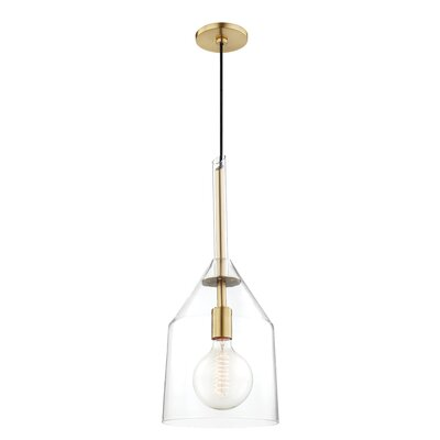 Humberto 1-Light Inverted Pendant Finish: Aged Brass, Size: 17.75 H x 7 W x 7 D