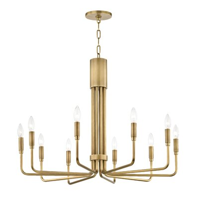 Lehn 10-Light Candle-Style Chandelier Finish: Aged Brass