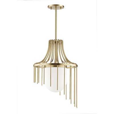 Leigh 1-Light Foyer Pendant Finish: Aged Brass, Size: 21.25 H x 12 W x 12 D