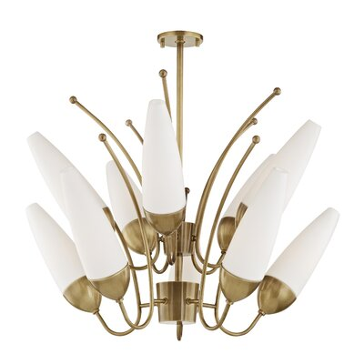 Despres 10-Light Candle-Style Chandelier Finish: Aged Brass