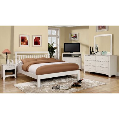 Hervey Bay Panel Bed Size: King, Color: White