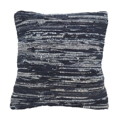 Owensby Distressed Denim Down Filled Cotton Throw Pillow
