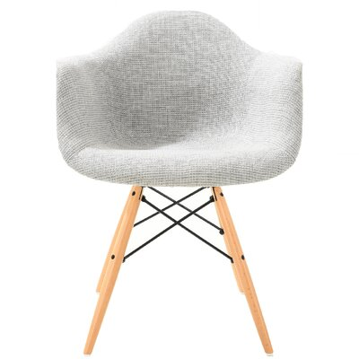 Quintus Padded Upholstered Dining Chair Upholstery Color: Light Gray, Leg Color: Natural