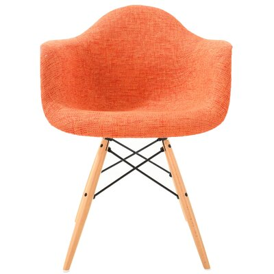 Quintus Padded Upholstered Dining Chair Upholstery Color: Orange, Leg Color: Natural