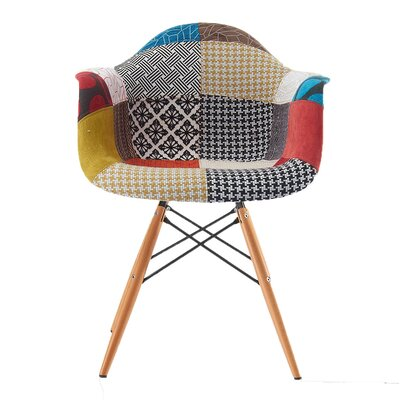 Quintus Padded Upholstered Dining Chair Upholstery Color: Patchwork, Leg Color: Natural