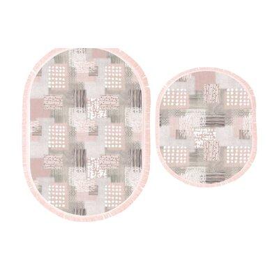 Gabler 2 Piece Bath Rug Set Color: Gray/Pink